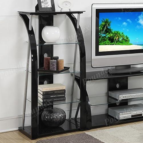 Poundex Metal and Tempered Glass Media Shelf, Black, Multi
