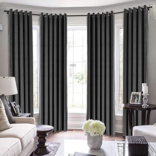TWOPAGES Extra Long Curtains, 240 Inch Long Velvet Thermal Insulated Curtains for Living Room Bedroom Blackout Window Drape MJ11-111 Black 1 Panel 100Wx240L