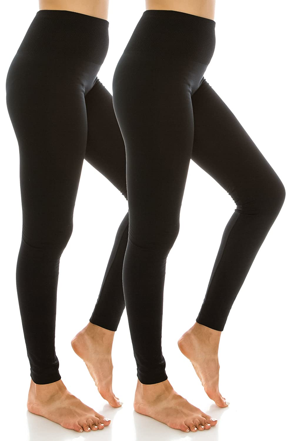 EttelLut High Waist Fleece Lined Leggings Single 2 Pack One Plus Size MP3238