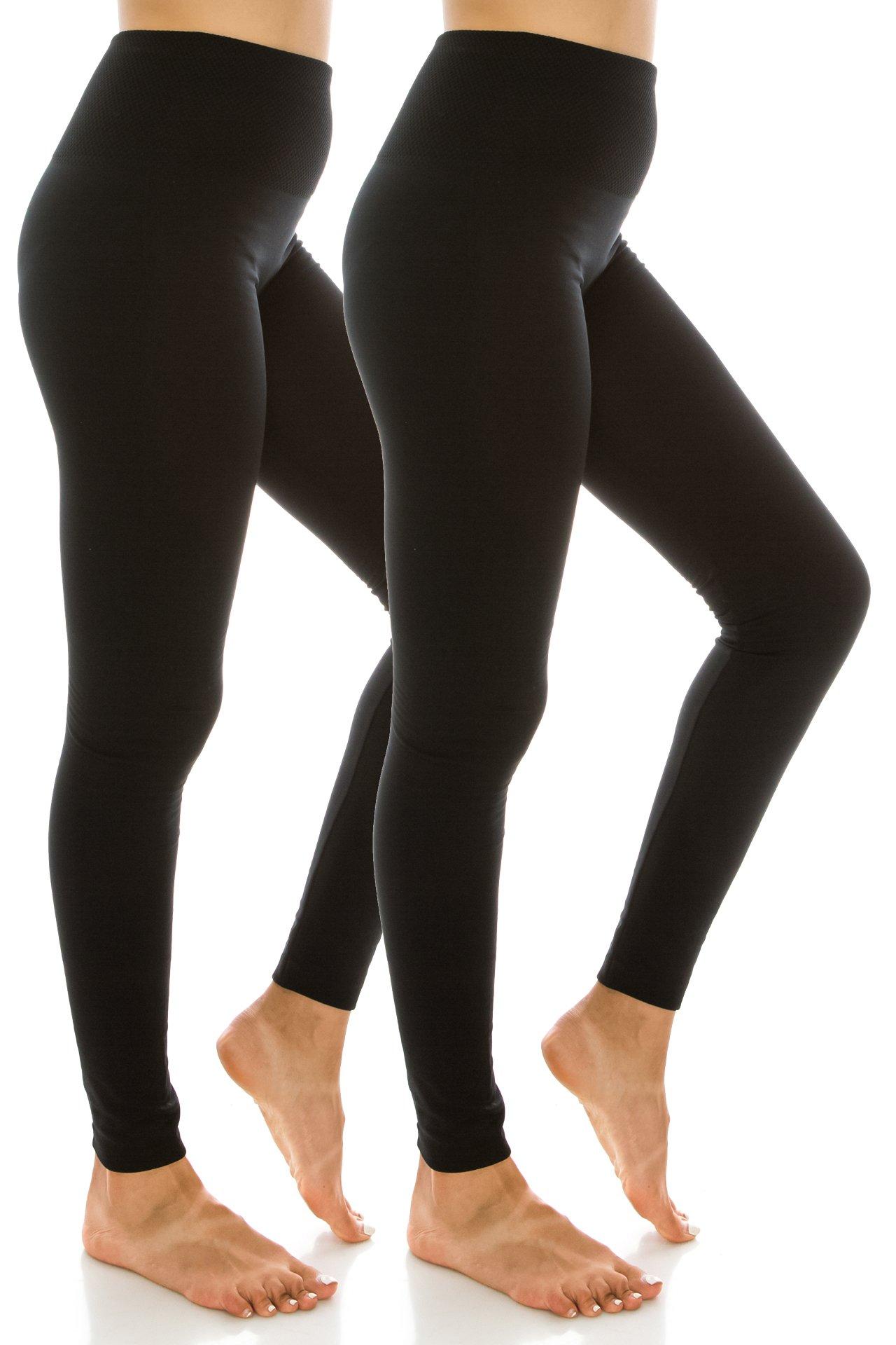 High Waist Fleece Lined Leggings for Women Sport high Waist 2PK Black Black OS