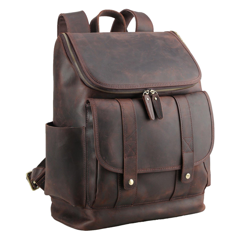 Polare Rustic Full Grain Leather 15.6'' Laptop Backpack Travel Bag Schoolbag Adventure Bag