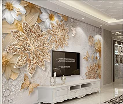 Lwcx Custom Mural Wallpaper for Bedroom Walls 3D Luxury Gold ...
