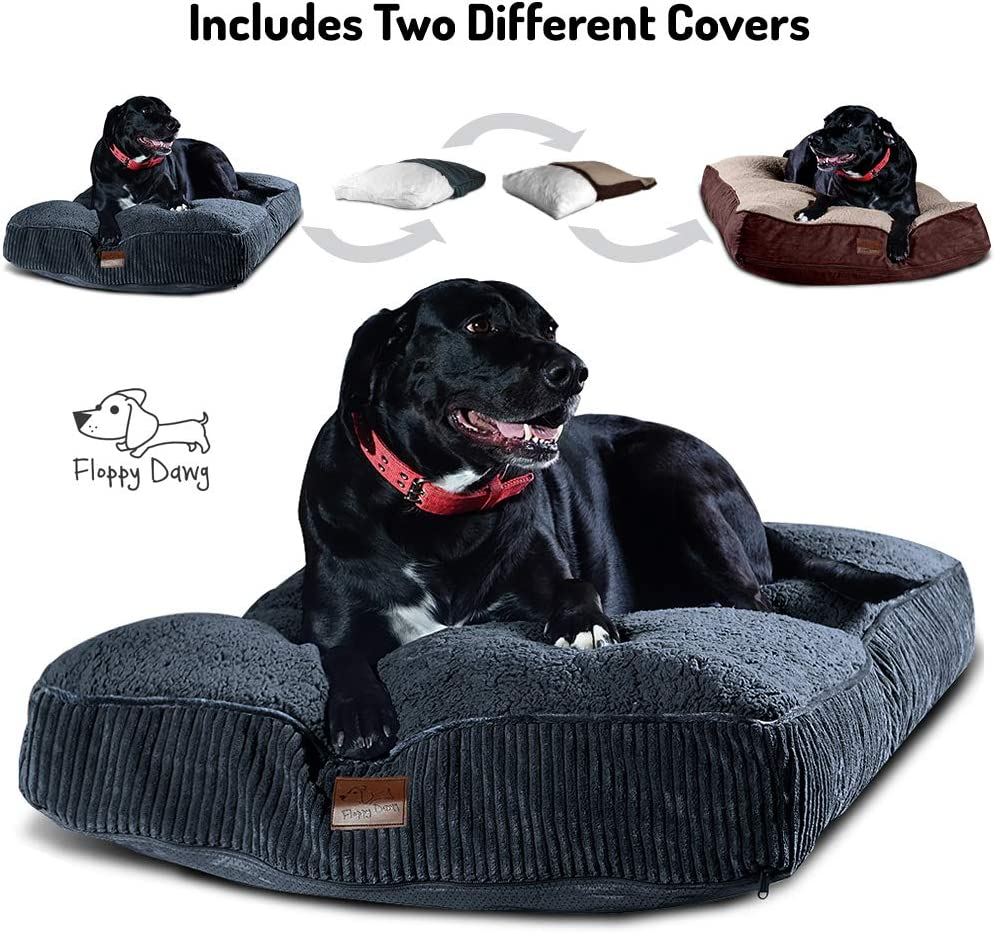 Interchangeable 2-in-1 Dog Bed. Super Extra Large with Two Removable Covers and Waterproof Liner. Made for Big Dogs up to 100 pounds and more. 48x30 and Stuffed 8 Inches High with Memory Foam Pieces. : Pet Supplies