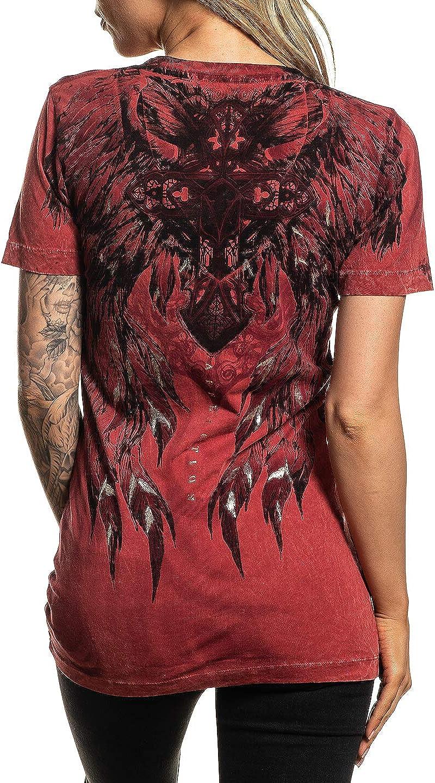 Affliction Womens Short Sleeve Graphic T-Shirt V-Neck Tee Catalina Variant