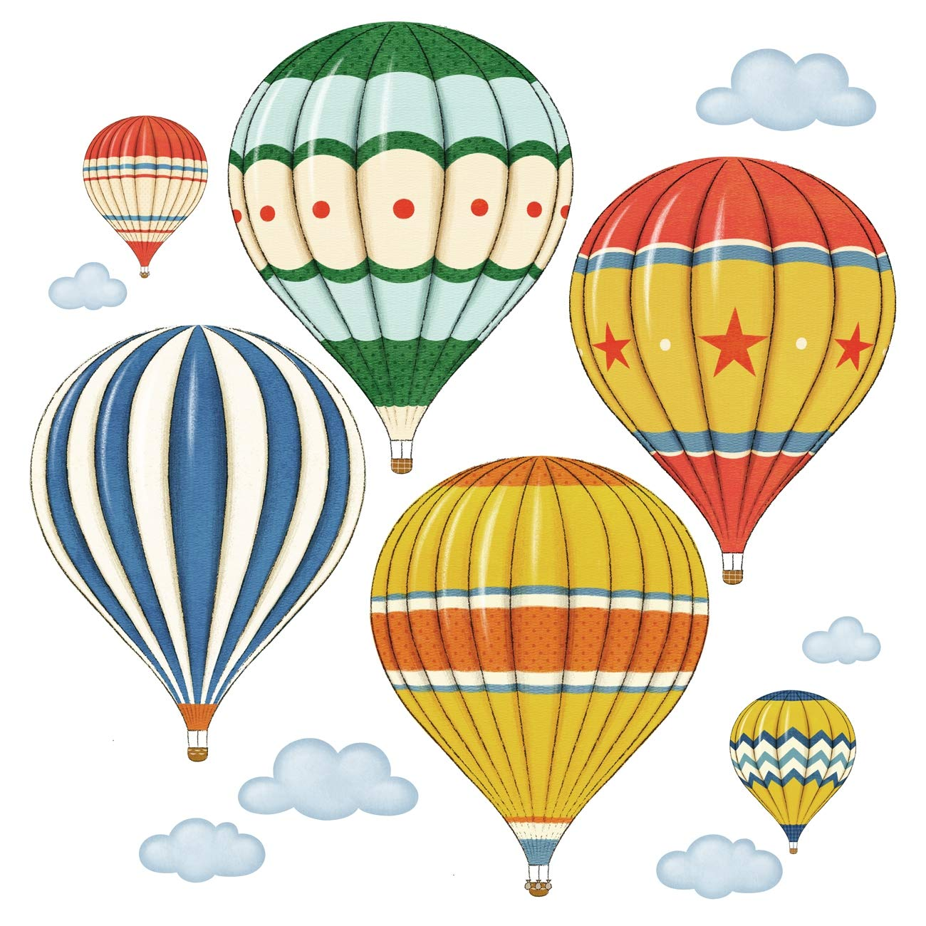 Decowall DW-1301AC-2 12 Hot Air Balloons in The Sky Kids Wall Stickers Wall Decals Peel and Stick Removable Wall Stickers for Kids Nursery Bedroom Living Room
