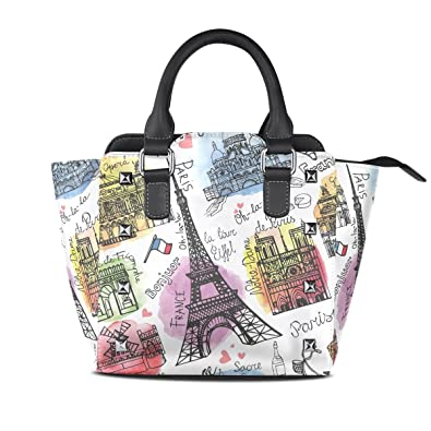 Jennifer PU Leather Top-Handle Handbags Watercolor Paris Landmarks ... f551efaf2c