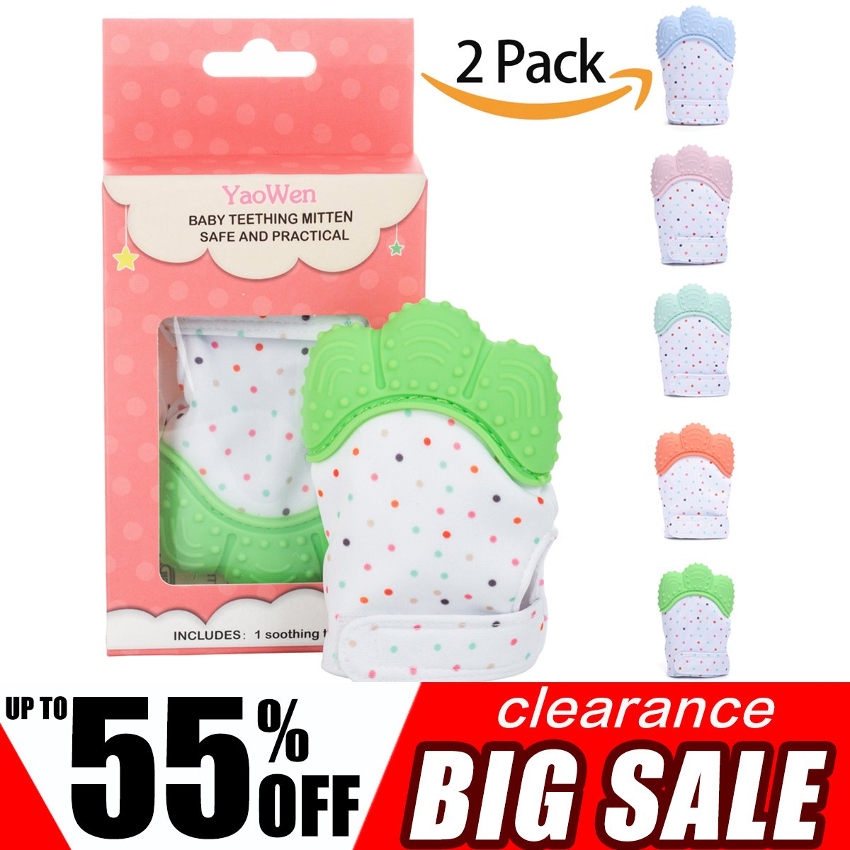 2Pack Baby Teething Mitten Set for Babies Self-Soothing Pain Relif Teething Glove Safe Food Grade Teething Mitt for 3-12 Months Boys (Green Color) Yaowen
