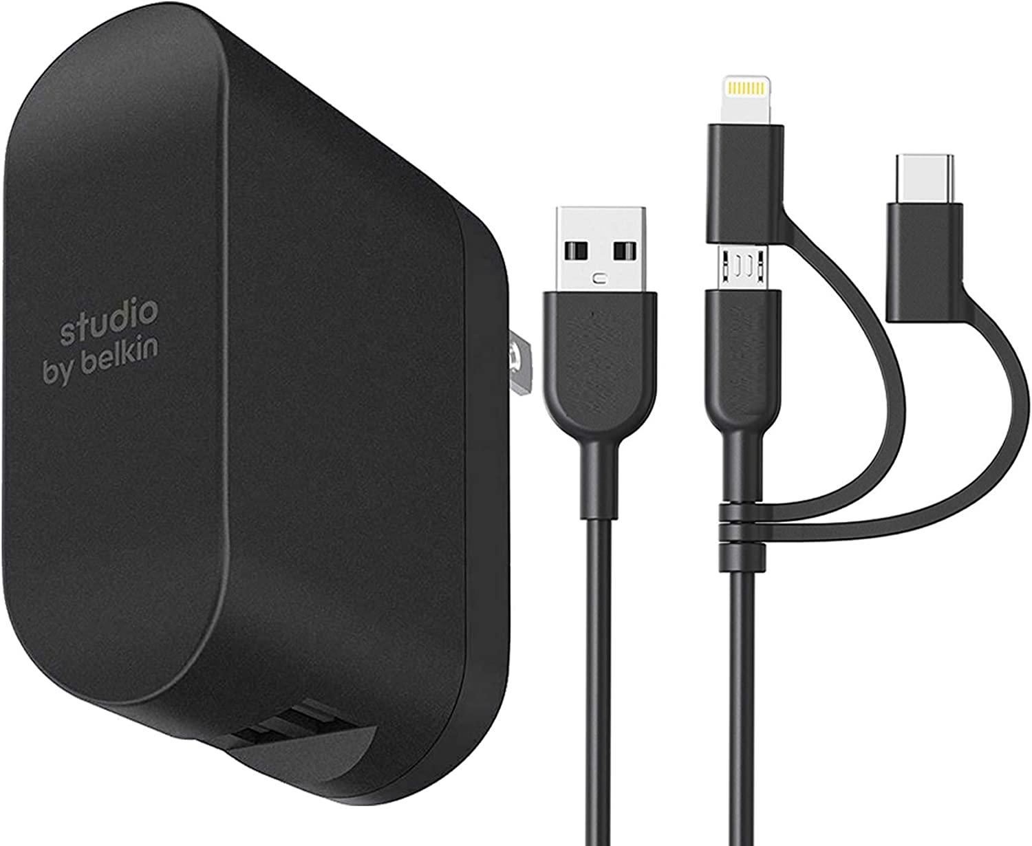 Belkin Boost Charge 2-Port Wall Charger – 24W Multi-USB Charger 4.8Amp with 3in1 USB Cable (for iOS & Android)