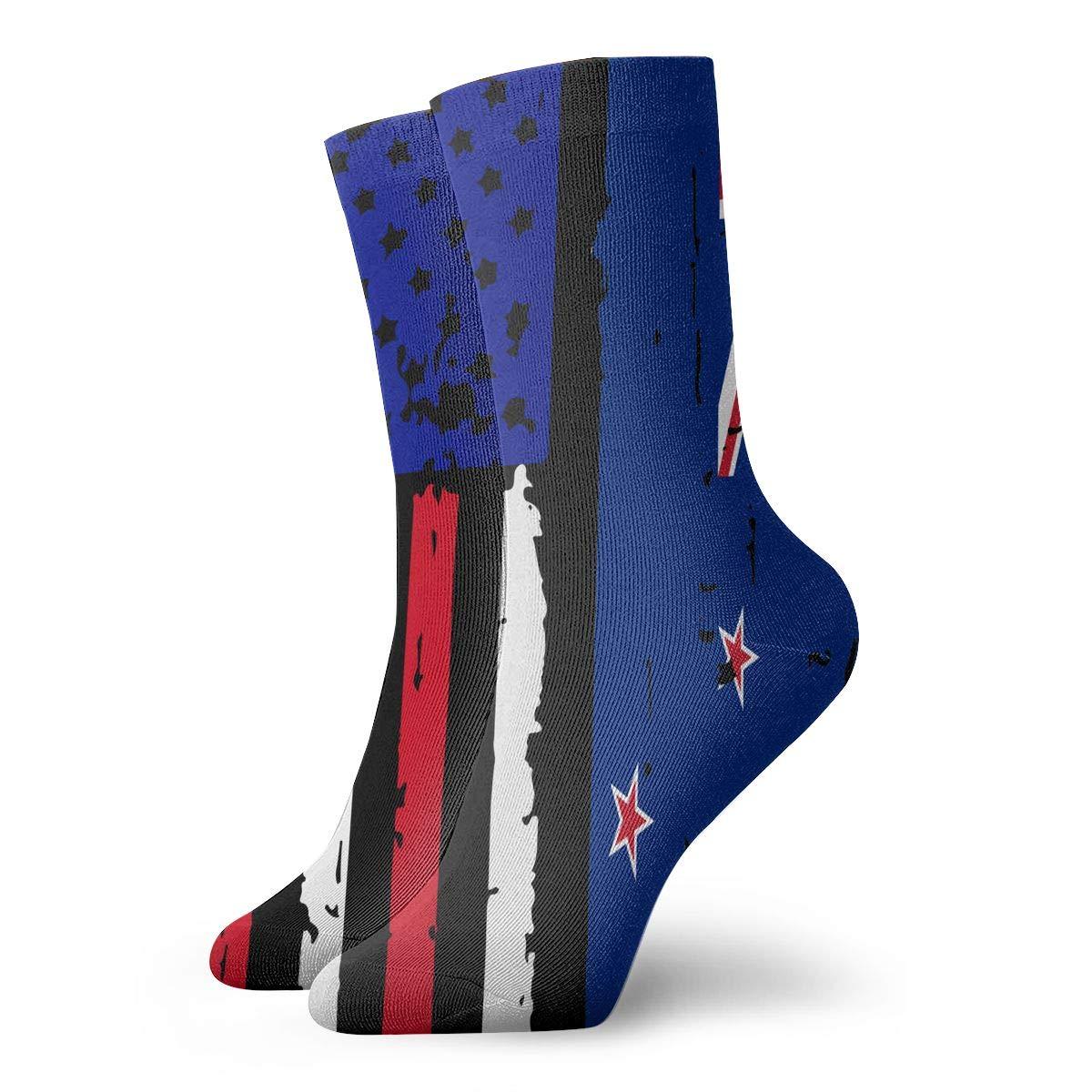 Adult New Zealand American USA Flag Pride Athletic Ankle Socks