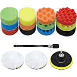 17Pcs Polishing Pads, VONDERSO 5 inch Buffing Pads and Wool Buffing Pad, Velcro Backing Pad for Car Sanding, Polishing…
