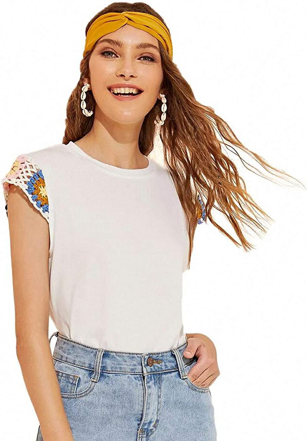 SweatyRocks Womens Casual Eyelet Short Sleeve Solid T-Shirt Blouse Tops