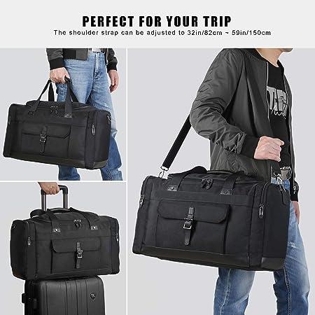 80cc325aadd1 Amazon.com  Domila Travel Duffel Bag 21   Large Unisex Weekender Bag TSA  Friendly Carry-on Luggage Tote Overnight Bag (Black)  Clothing