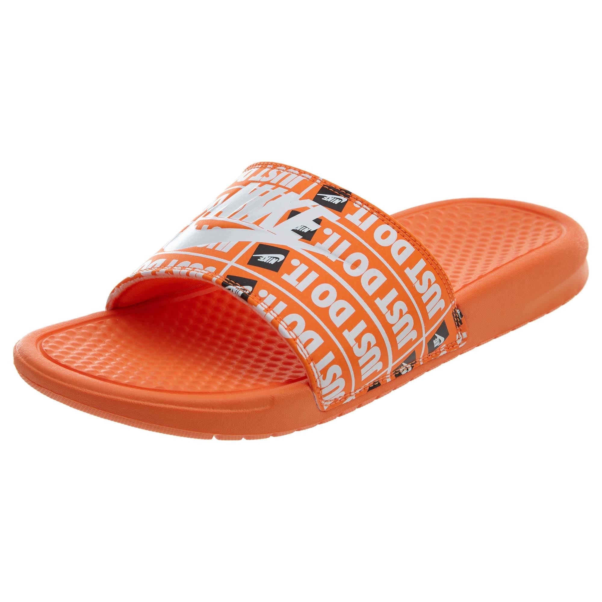 the latest 71ace 3785d Sandals Nike Benassi JDI Just Do It Print Slides Total Orange White Black  631261-800 Men s Shoes