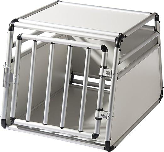 EUGAD Transportín de Aluminio para Perros Gatos Mascotas Jaula Transporte de Viaje para Mascotas Trapezoidal 1 Puerta Blanco/Plata B54xH50xT69 cm 0059HT: Amazon.es: Productos para mascotas