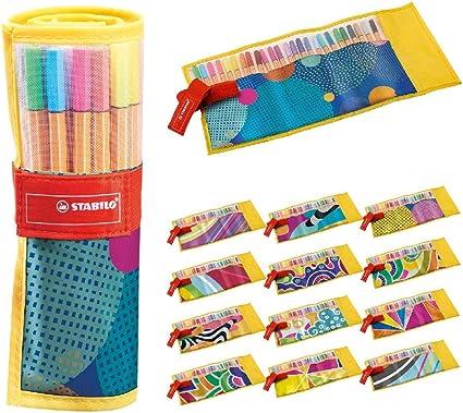 Rotulador puntafina STABILO point 88 - Estuche de tela Rollerset Individual Just Like You con 25 colores: Amazon.es: Oficina y papelería