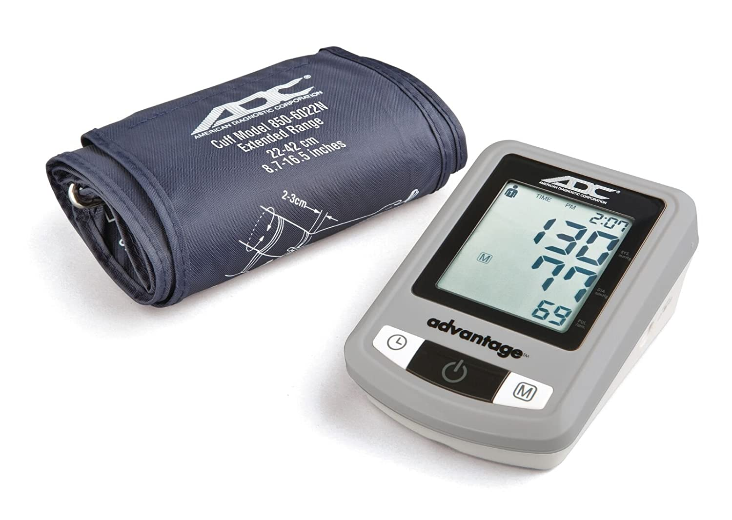 ADC Advantage 6021N Automatic Digital Blood Pressure Monitor with Storage Case, BHS AA Rated, Wide-Range Adult Navy Upper-Arm BP Cuff