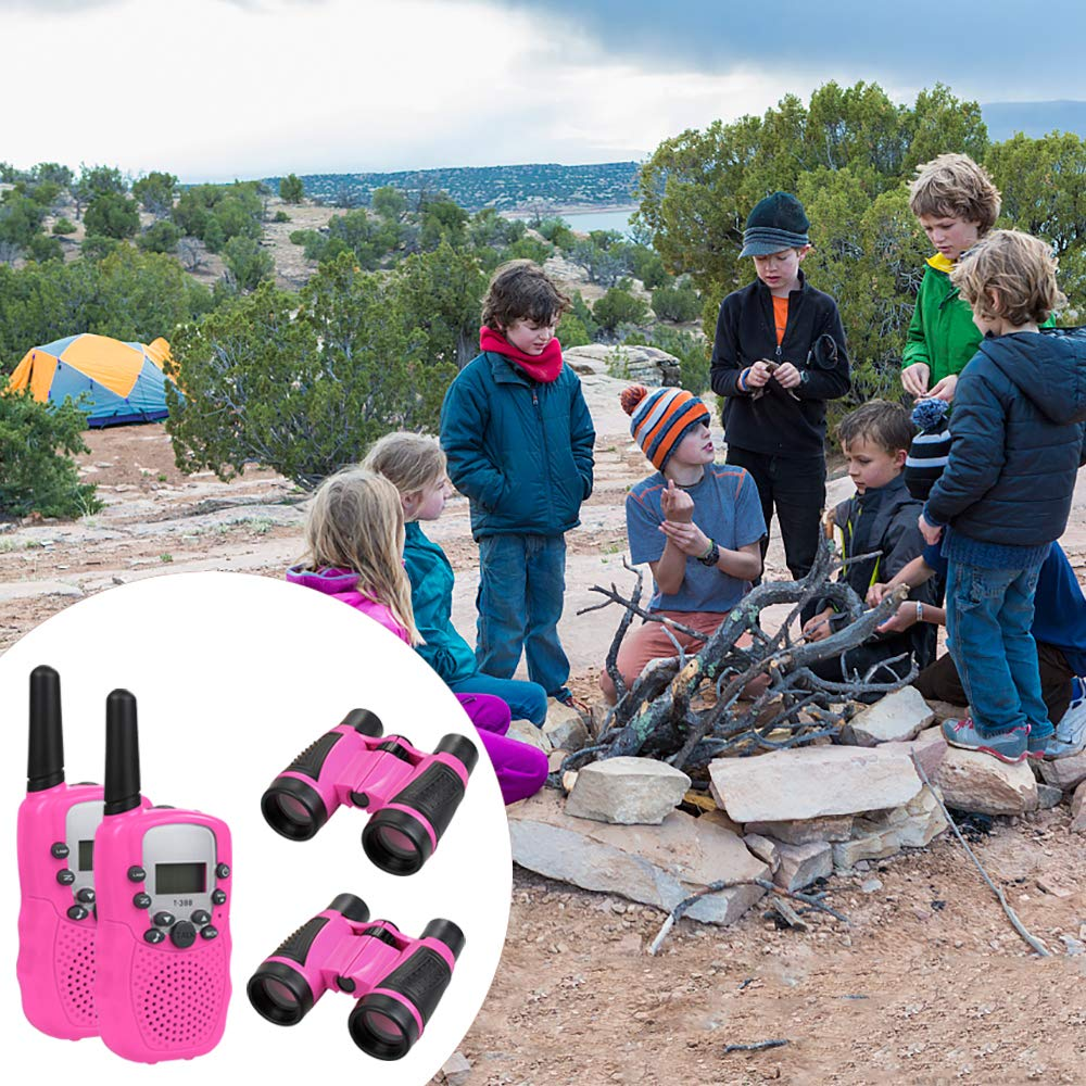 Anpro walkie talkies and Telescope Sets for Kids, 22 Channel 2 Way Radio 3 Mile Long Range Handheld Kids Walkie Talkies, Best Gifts & Top Toys for Boy & Girls for Outdoor Adventure Game(Pink) by Anpro (Image #5)