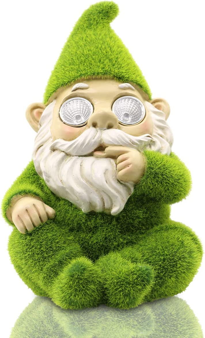 Garden Statue of Gnomes Flocked Artificial Moss Finish with Solar Light Eyes for Patio Yard Outdoor(Green)