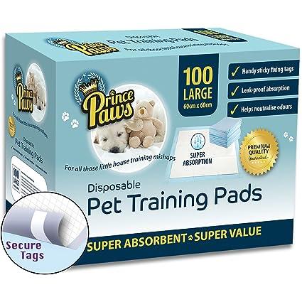 Almohadillas de entrenamiento PrincePaws para cachorros: almohadillas de orina para perros de 100 unidades con