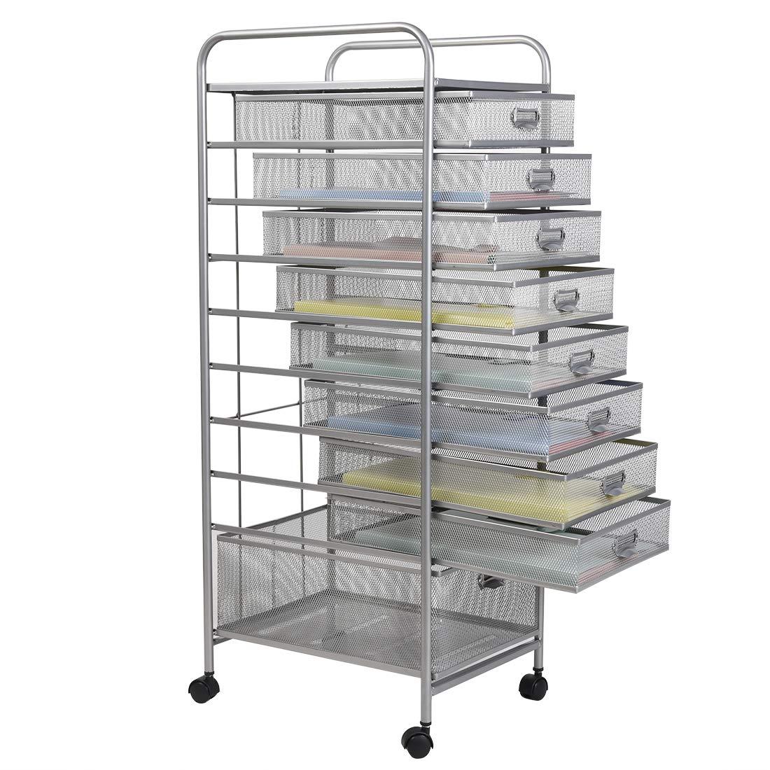 Metal Mesh 9 Drawer Rolling Cart Storage Organizer File Basket Cart Office&Home Cabinet-Silver by sharkbang