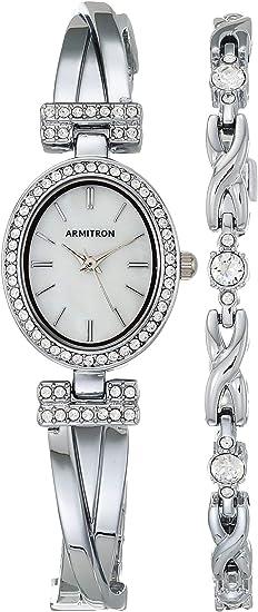 Armitron Women's Swarovski Crystal Accented Bangle Watch and Bracelet Set, 75/5381