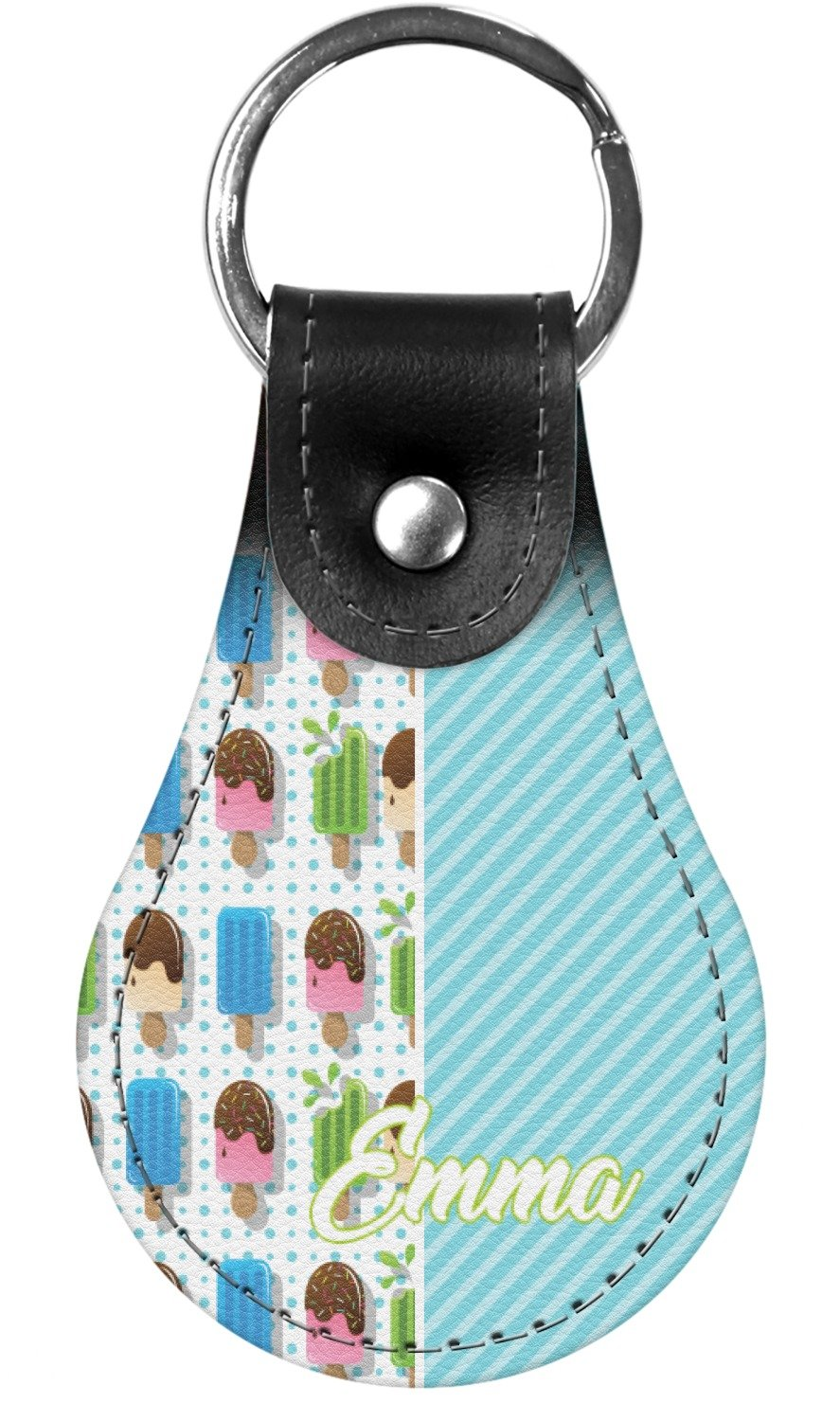 Popsicles and Polka Dots Genuine Leather Keychain (Personalized)