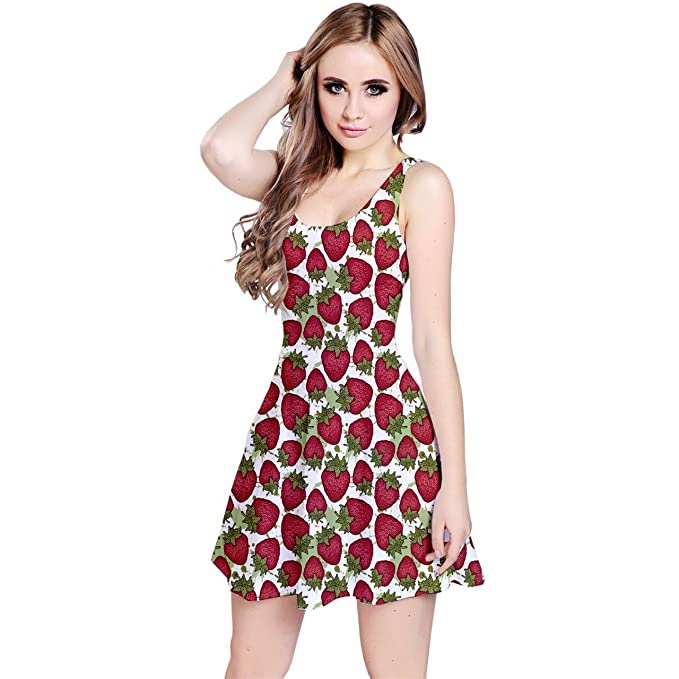 fd265e195b CowCow Red Pattern with Strawberries Graphic Stylized Drawing Sleeveless  Dress