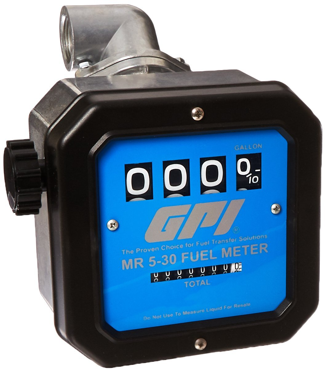 GPI 126300-43, MR530-G8N, Mechanical Fuel Flowmeter, 1-Inch FNPT Inlet/Outlet, 5-30 GPM with 90 Degree Fitting, 4-Digit Batch Display, Non-Resettable Cumulative Total, +/-2 Percent Accuracy