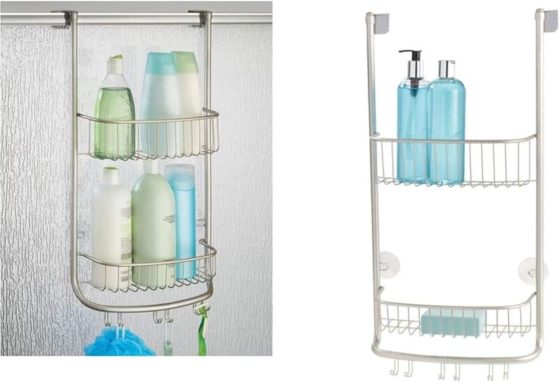 iDesign Organizador de ducha para colgar, pequeña estantería colgante de metal con 2 baldas y 3 ganchos dobles, cesta de ducha para la cabina de ducha, plateado: Amazon.es: Hogar