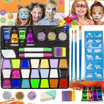 SPECOOL Pinturas Cara para Niños,Kit de Pintura Facial para Niños con 21 Colores, Seguro No Tóxico Kit de Maquillaje de Cosplay para Adultos, Niños para la Fiesta de Carnaval de Halloween: Amazon.es: