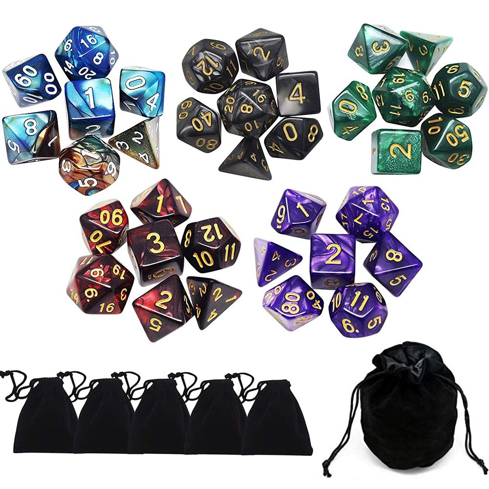 Yotako 35 Pieces Polyhedral Dice Set Colors Polyheral Game Dice with Velvet Dice Bag D4 D6 D8 D10 D12 D20 for RPG Dungeons and Dragons Dice Games Pathfinder Dice by Yotako