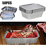 Zcuhen Aluminum Foil Pans with Lids, Baking Pans, 50 Pack Square Disposable Takeout Containers with Foil Lids, Food…