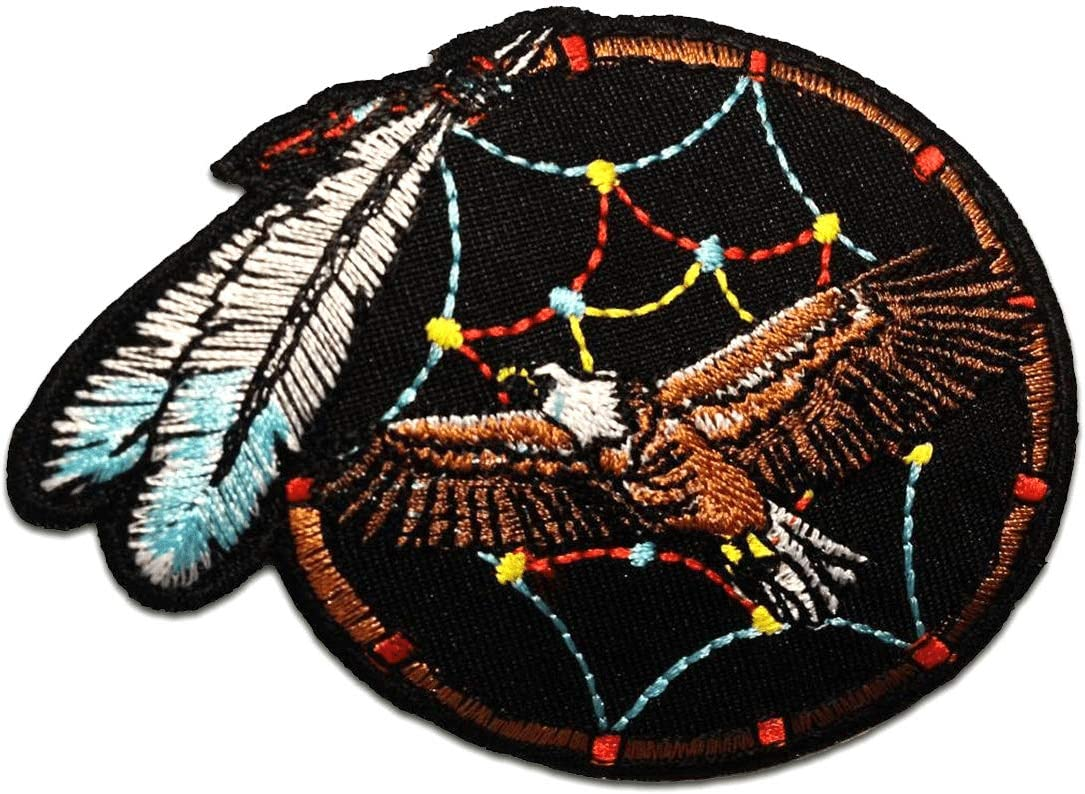 Parches - águila indio atrapasueños - marrón - 7.5x9.0cm - termoadhesivos bordados aplique para ropa