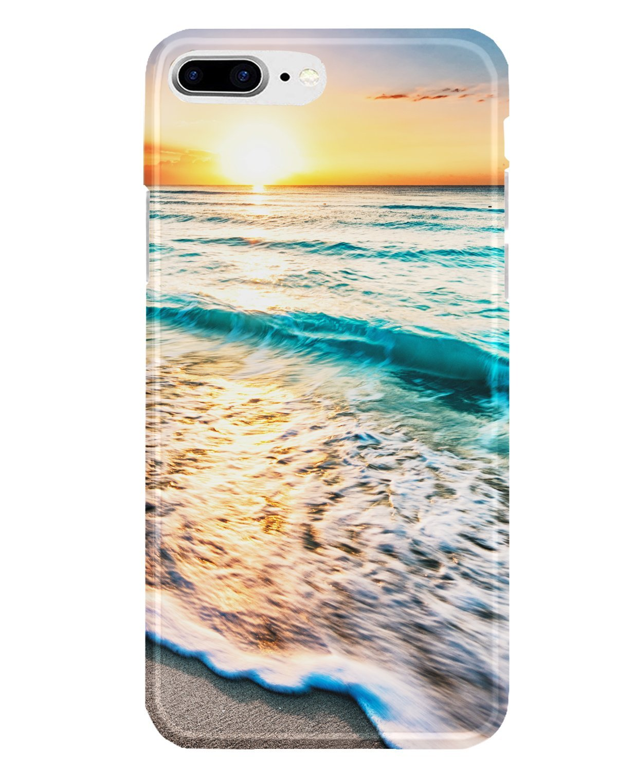 iPhone 7 Plus Case,iPhone 8 Plus Case, J.west Unique Pattern Slim-Fit Soft TPU Bumper Flexible Rubber Silicone Rugged Thin Protective Phone Case Cover for iPhone 7 Plus iPhone 8 Plus (Ocean Sunset)