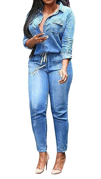 c2263b3d55e Mono Vaquero Mujer Elegantes Moda Casual Skinny Monos Largos Primavera  Otoño Vaqueras Manga Larga De Solapa con Bolsillos Joven Jeans Ropa  Jumpsuit Fiesta ...