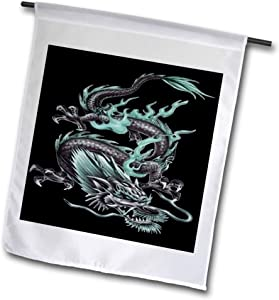 3dRose Acrylic Painting of an Aqua Colored Chinese fire Dragon on Black - Flags (fl_334065_1)