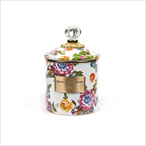 MacKenzie-Childs Flower Market Canister, Sugar, Coffee or Flour Container with Lid, Floral Kitchen Canister, White, Small