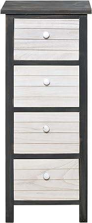 Rebecca Mobili Commode Haute Meuble De Rangement En Bois 4 Tiroirs Gris Blanc Style Vintage Chambre Salon Entree Dimensions 77 X 32 X 22 Cm