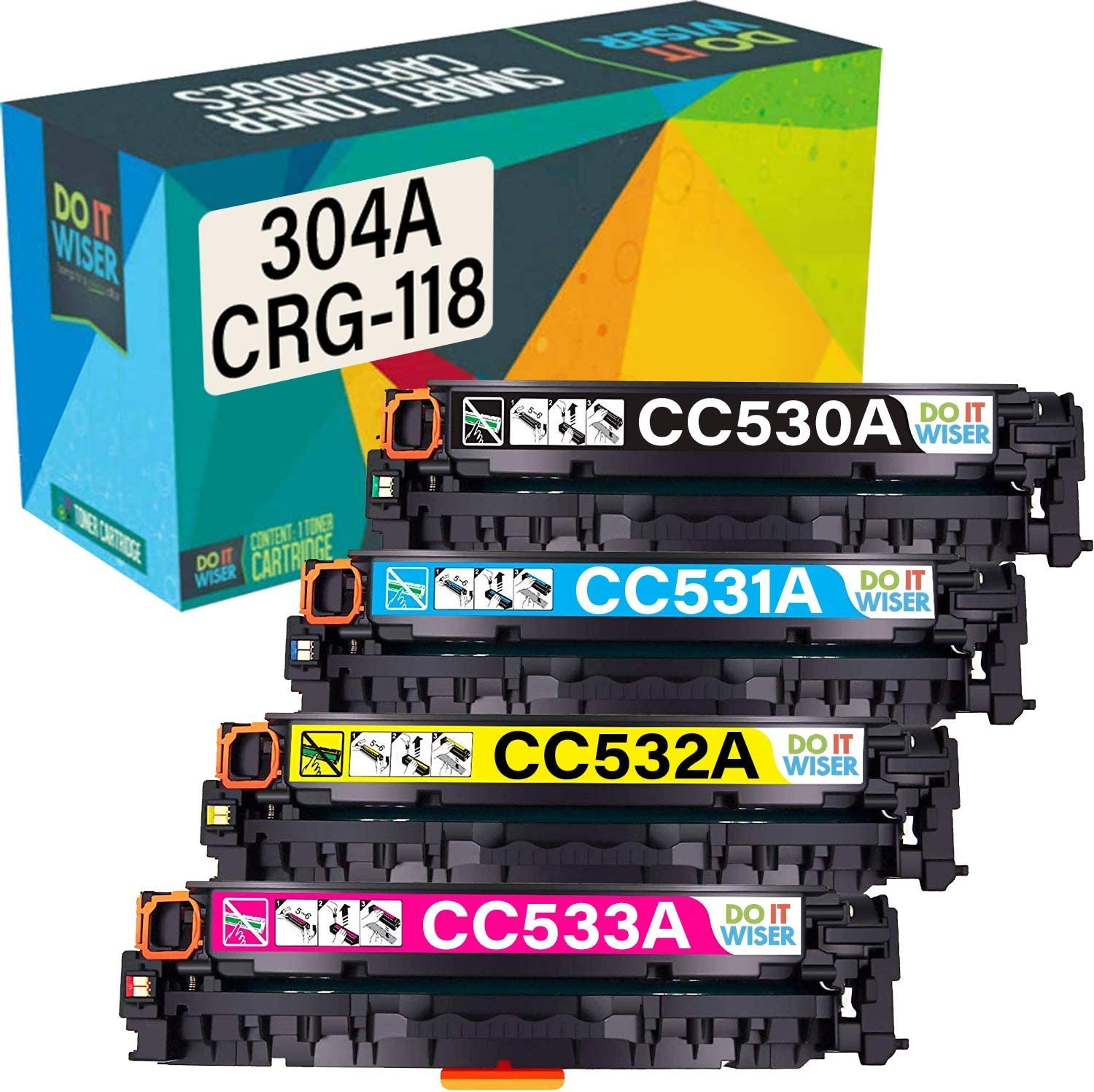 Do it Wiser Remanufactured Toner Cartridge Replacement for Canon 118 HP 304A Canon MF8580CDW MF8380CDW MF8350CDN HP Color Laserjet CP2025DN CP2025N CP2025X CM2320N (4-Pack)