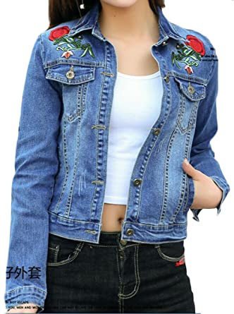 Zago Womens Classic Rose Embroidery Lapel Boyfriend Denim Jacket At