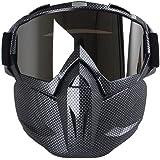 Kobwa - maschera per moto con occhiali, antinebbia, antivento, casco a viso aperto per motocross, sci, equitazione, sport all'aperto