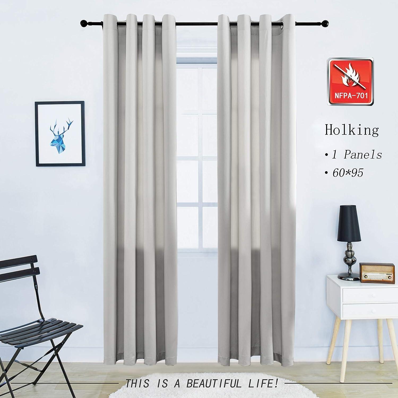 HOLKING Blackout Curtain Panel Flame Retardant Darkening Window Grommet Curtain Drape with Tieback,1 Panel,56Wx95L HOLKING TEXTILE HQ-XWZR-03-COFFEE-56X95
