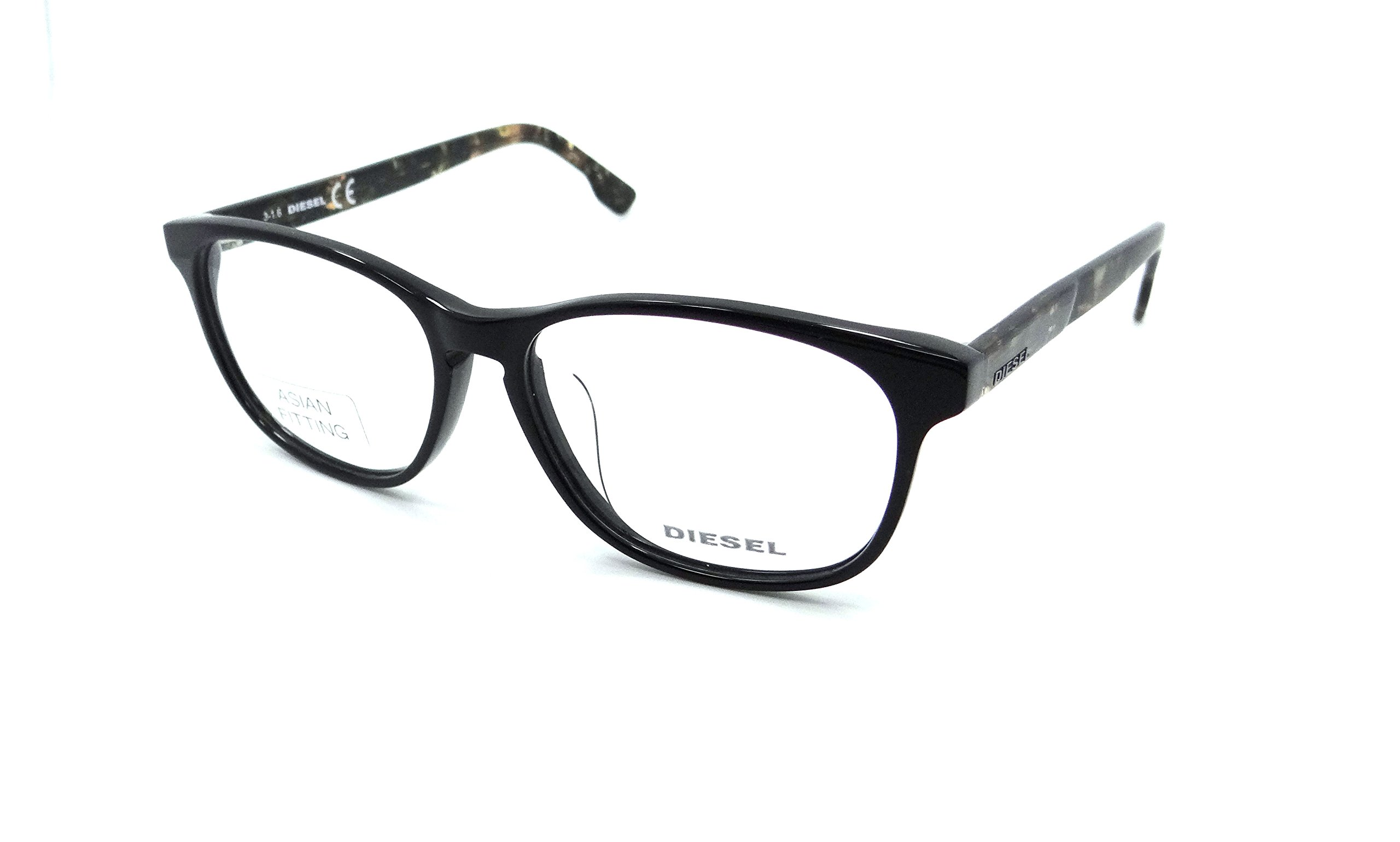 New Authentic Diesel Rx Eyeglasses Frames DL5187-F 001 55-15-145 Shiny Black /Havana Asian Fit