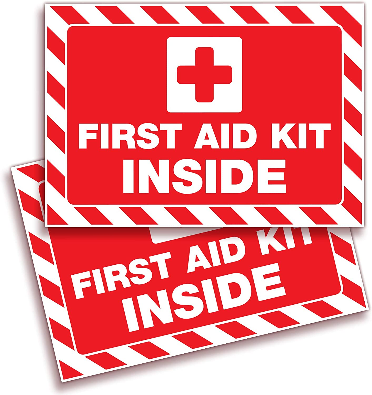 First Aid Kit Inside Signs Stickers for Home, Schools & Business – 2 Pack 10x7 Inch – Premium Self-Adhesive Vinyl, Laminated UV, Weather, Scratch, Water and Fade Resistance, Indoor & Outdoor