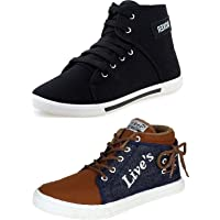 Maddy Men's Multicolour Synthetic Leather Sneakers (Pack of 2)