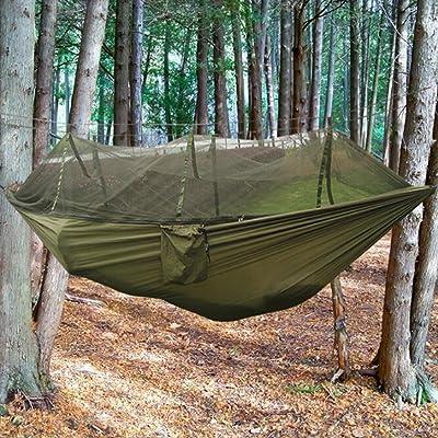 Camping Hamac parachute, extérieur Hamac Chaise de lit avec moustiquaire et 2sangles de suspension Charge maximale de 199,6kilogram pour randonnée Jardin Yard Swing de plage