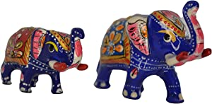 Handicraft Elephant Wealth Lucky Figurine Home Decor, Set of 2 Elephant Decor/Diwali Decor/Favor/Gift