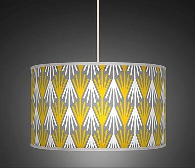 50cm 20 mustard yellow grey white retro geometric handmade 50cm 20quot mustard yellow grey white retro geometric handmade printed fabric lamp drum aloadofball Choice Image
