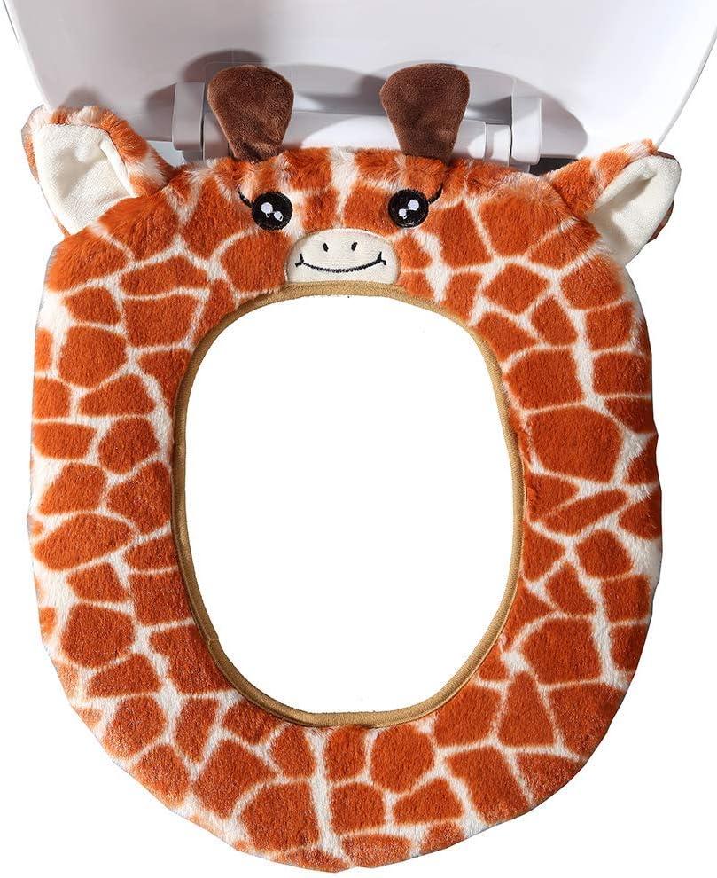 girafe Gifts Treat Housse de si/ège de toilette Accessoires de toilette de style animal mignon doux tapis de bain en peluche