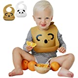Mr&Mrs Tiny 2pcs Waterproof Silicone Baby Bibs for Feeding Babies & Toddlers | Eco Friendly | Easily Wipes Clean | Cute Animal Designs for Boys & Girls | Baby Shower Gift